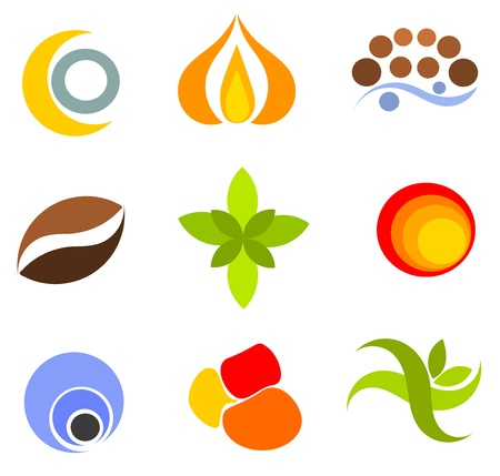 green coffee beans: Set of colorful vector icons and symbols