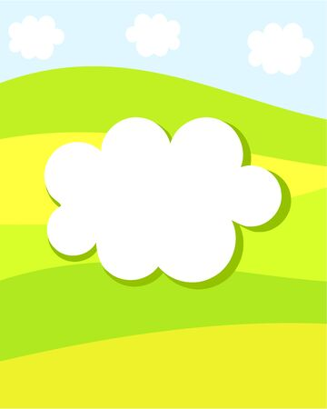 Spring nature card with white clouf for Your text. Vector illustration Stock Vector - 9481746
