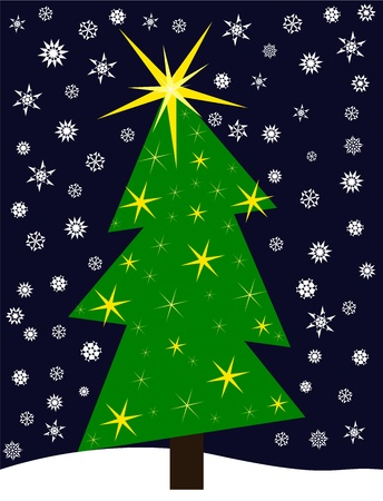 Funny crooked Christmas tree in nature. Stars decoration and snowflakes Vector