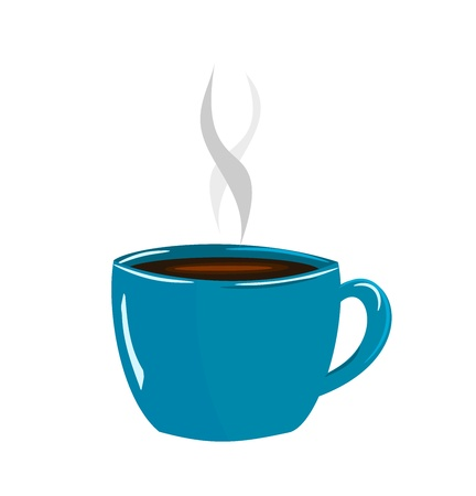 arabica: Blue cup of coffee espresso vector illustration