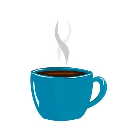 hot chocolate drink: Copa azul de ilustraci�n vectorial de caf� expresso Vectores