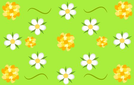 whote: Floral texture - white and yellow flowers over green background Illustration