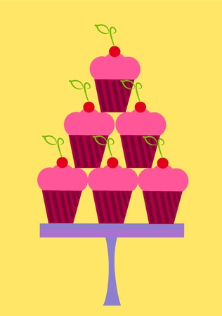 Pink cupcakes with cherry in stack on plate. Party sweets Vector