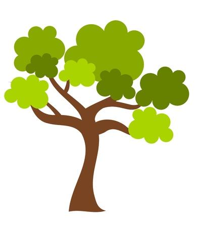 crooked: Oak tree isolated. Illustration