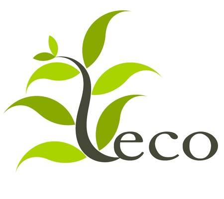 green eco: Environmental eco icon with plant.