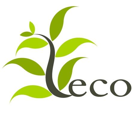 icono ecologico: Icono de medio ambiente ecol�gico con la planta.