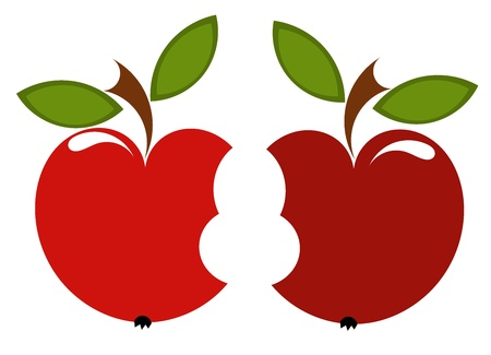 Couple of red biten apples - love concept. Vector