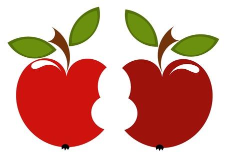 bite: Couple of red biten apples - love concept.