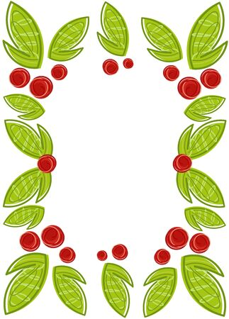 Spring frame made of leaves and berries Vector