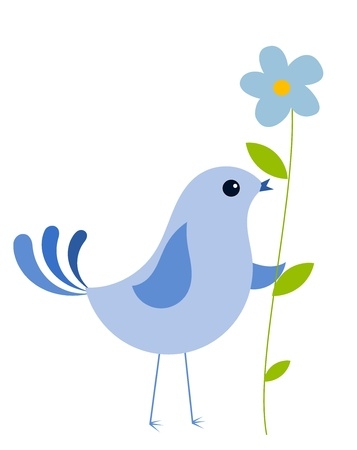 Blue bird with blue forget-me-not flower.  Illustration