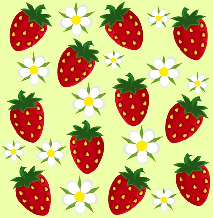 Strawberry fruit and flower background  Vector