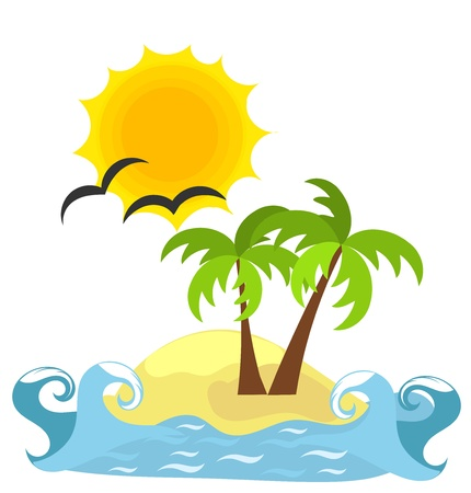 Desert island and sea.  Vector