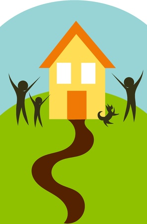 Happy family and their new house on the hill. Idyll painting Stock Vector - 9584365