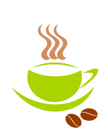Simple symbolic green coffee cups and two beans Stock Vector - 9584366