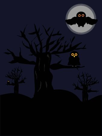 Night scary scenery with old trees and owls Vector