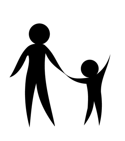 eltern und kind: �bergeordneten und untergeordneten holding h�nde zusammen. Symbolisch vektor-illustration Illustration
