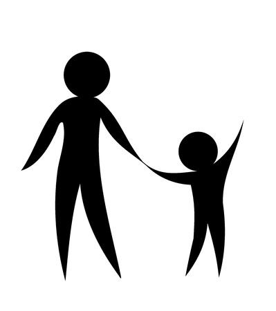 genitore figlio: Padre e figlio, tenendosi per mano insieme. Illustrazione vettoriale simbolico Vettoriali