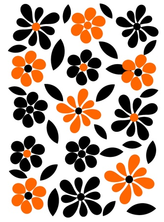 Orange and black flower background. Vector illustration Vector
