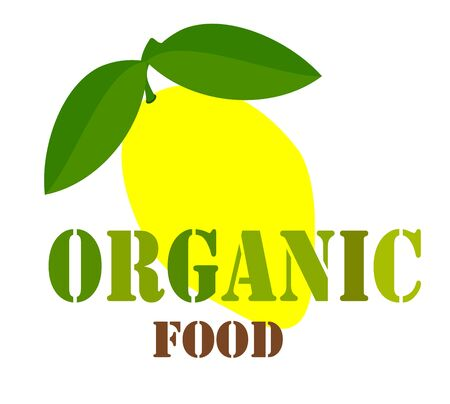 Organic food sign or label with lemon fruit. Vector illustration Vector