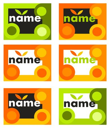 Set of orange and green business cards or banner concepts - vector illustration Vector