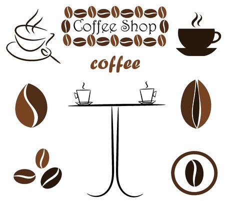 coffe bean: Caff� elementi per la progettazione: fagioli, tazze e tabella. Illustrazione vettoriale