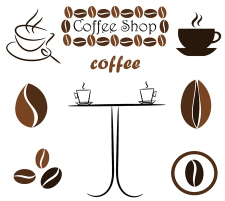 bönor: Coffee elements for design: beans, cups and table. Vector illustration