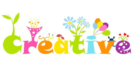 amused: Creative abstract concept - colorful living letters. Vector illustration Illustration