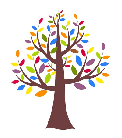one colour: Fantasy creative tree with colorful leaves. Vector illustration