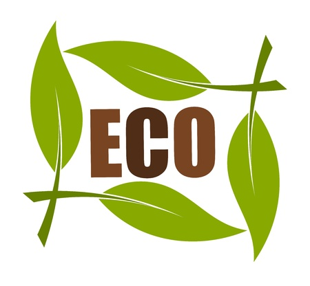 Eco emblem in leaf frame. Vector illustration Stock Vector - 9838052