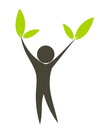 healthy lifestyle: Eco man with green leaves in hands. Conceptual vector illustration