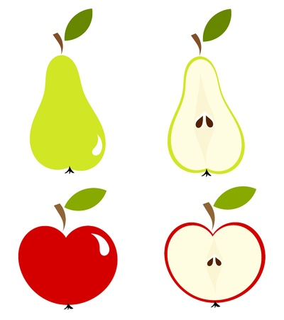 Apple and pear - whole fruit and cut Vector