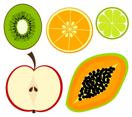 papaya: Set of colorful fruits. Vector illustration
