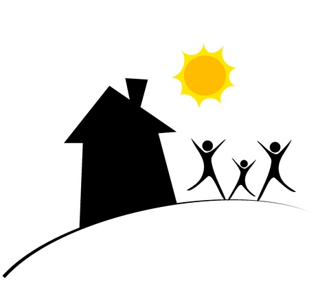 rural houses: Happy family and home. Conceptual vector illustration