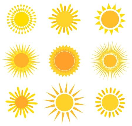 rayos de sol: Colección de los Suns. Ilustración vectorial