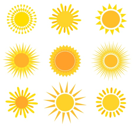 smiling sun: Suns collection. Vector illustration