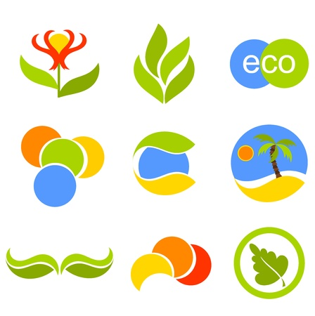 brand tag: Set of vector symbols and icons with nature elements for design