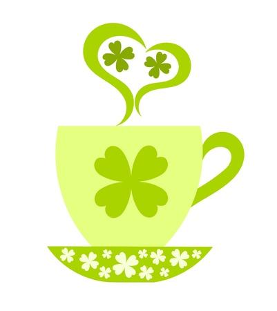 mars: Jour de la Saint Patrick. Coffee cup avec orn� de tr�fle. Illustration vectorielle Illustration