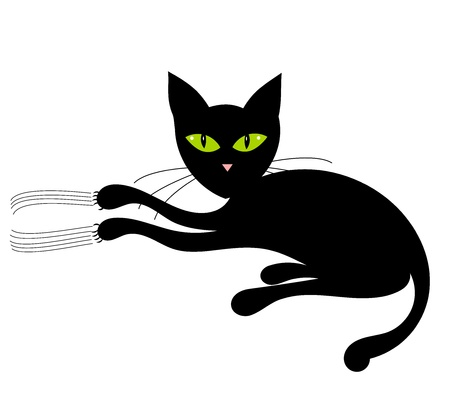 Black cat with green eyes. Vector illustration Stock Vector - 9838323