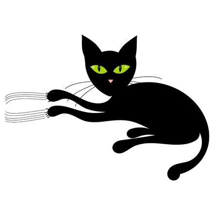 Schwarze Katze mit grünen Augen. Vektor-illustration Standard-Bild - 9838323