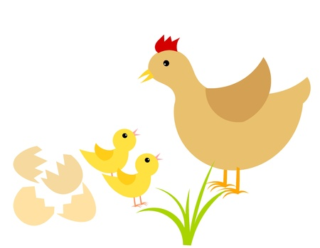 Easter chicks and mother hen. Vector illustration Vector