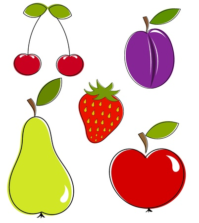 Fruits collection. Healthy variety - vector illustration Stock Vector - 9838279