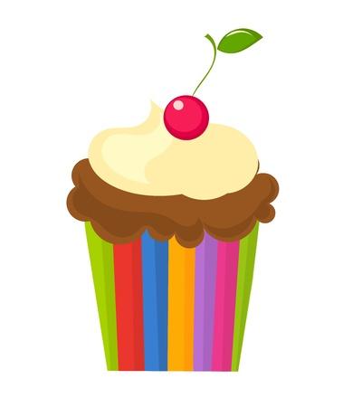 cremoso: Cupcake de chocolate con crema y cerezas en la parte superior. Ilustraci�n vectorial