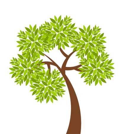 Symbolic tree with simple single leaves vector illustration Vector