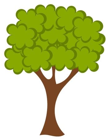 Ilustración vectorial de gran árbol verde