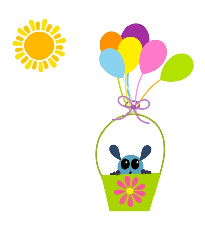 cute creature: Cute creature in pail floating by balloons. Childrens day Illustration