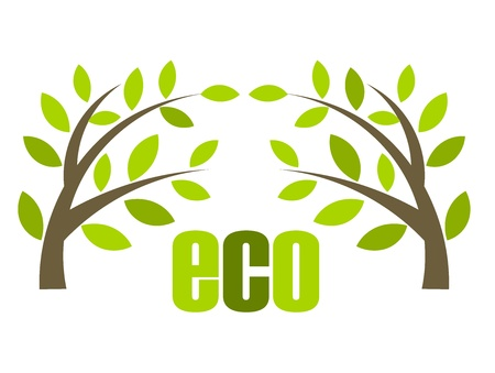 Eco symbol illustration with small trees. Vector icon Stock Vector - 9838074