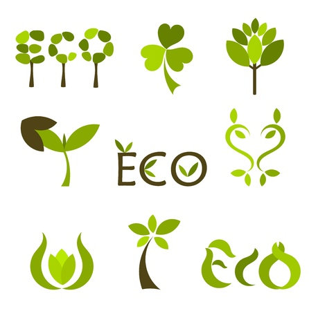 Various eco and nature symbols. Vector illustration Stock Vector - 9838079