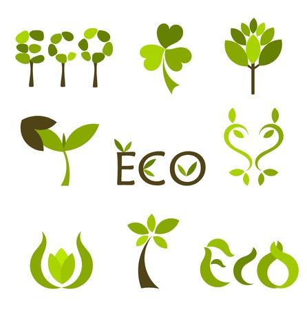Verschillende eco en natuur symbolen. Vectorillustratie