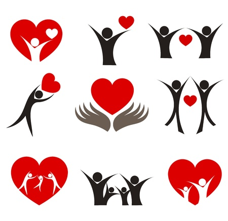family health: Collection of people with hearts - couple, family and health concepts. Vector illustration Illustration