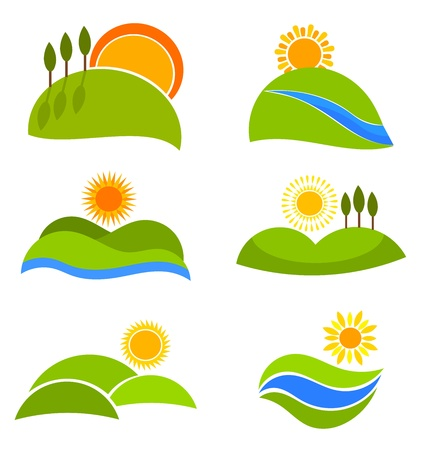 paisaje mediterraneo: Iconos de naturaleza paisaje con soles y colinas de dise�o. Ilustraci�n vectorial